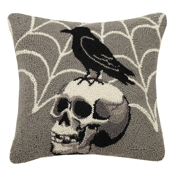 Colon Crow on Skull Hook Pillow Lumber Pillow by The Holiday Aisle