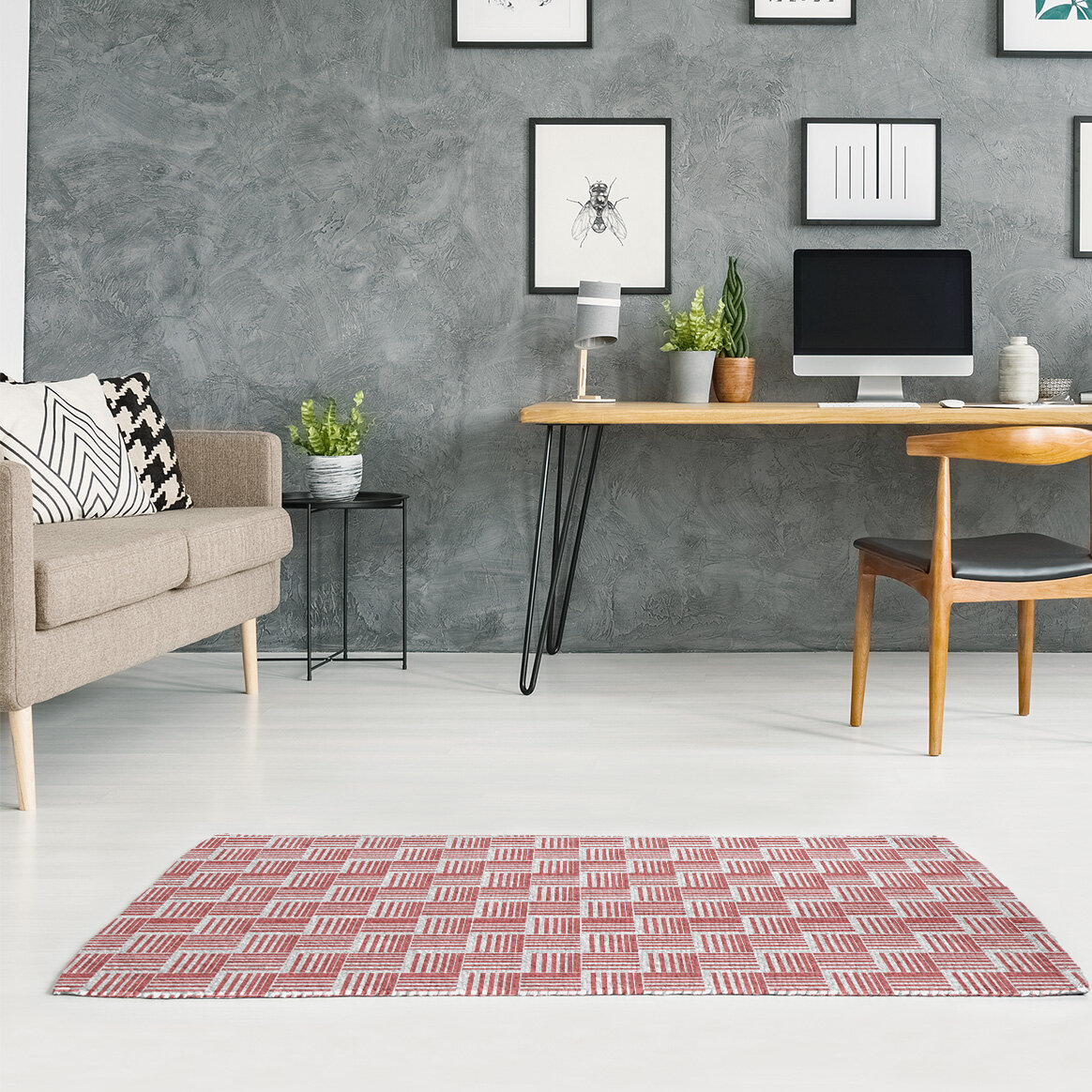 East Urban Home Basketweave Stripes Light Orange Gray Area Rug Wayfair