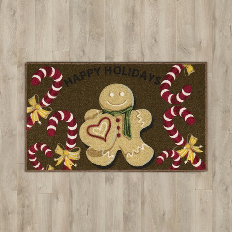 Gingerbread House Man Brown Area Rug