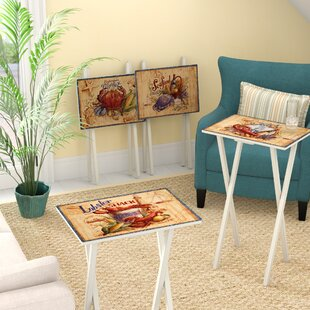 Mcgovern Coastal Market TV Tray with Stand (Set of 4) Rosecliff Heights