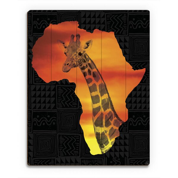 Africa Silhouette - Giraffe Graphic Art on Plaque by Click Wall Art