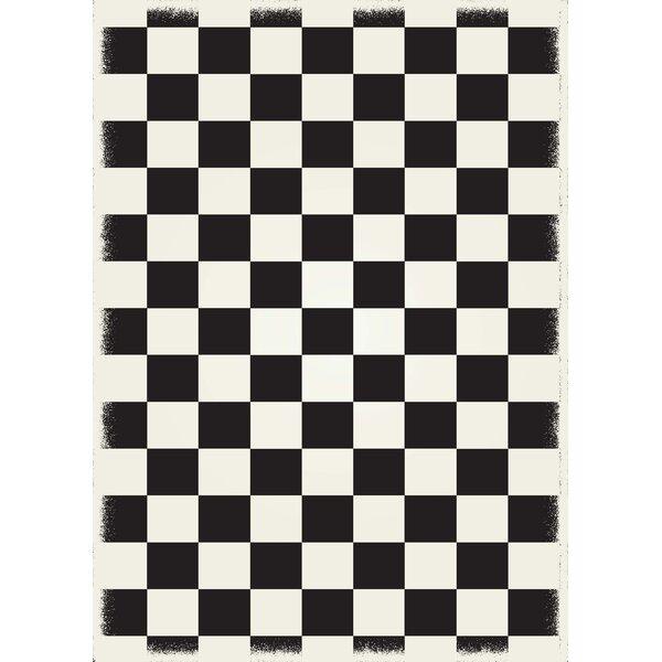 Biton English Checker Black/White Indoor/Outdoor Area Rug by Winston Porter