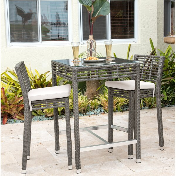 Graphite 3 Piece Bar Height Dining Set with Cushions