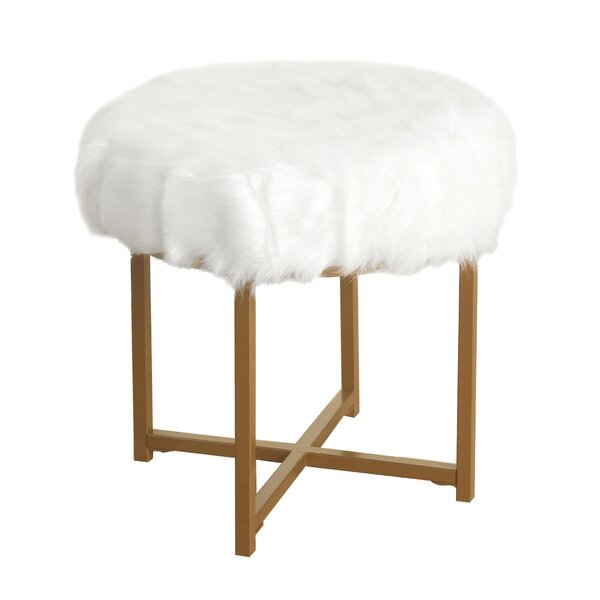Gustavo Faux Fur Round Stool by Willa Arlo Interiors