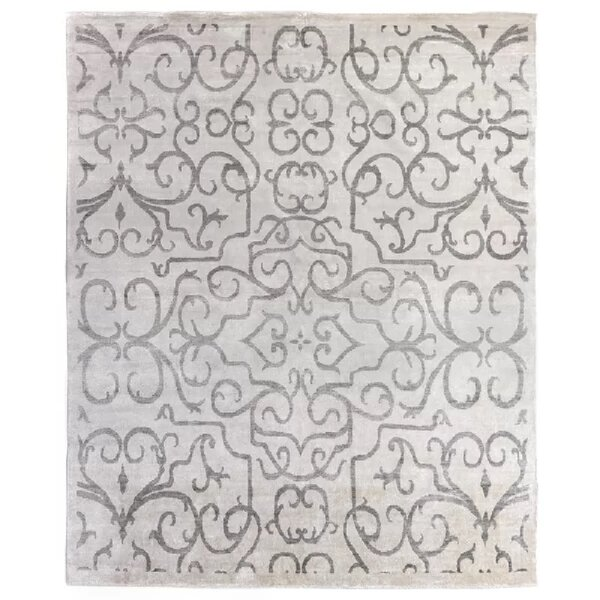 Hand-Knotted IvoryLight Gray Area Rug