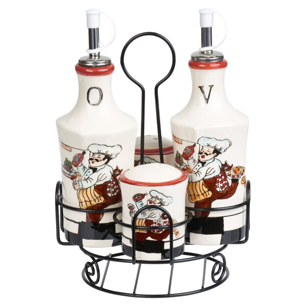 5 Piece Chef Ceramic Condiment Set by Lorren Home Trends