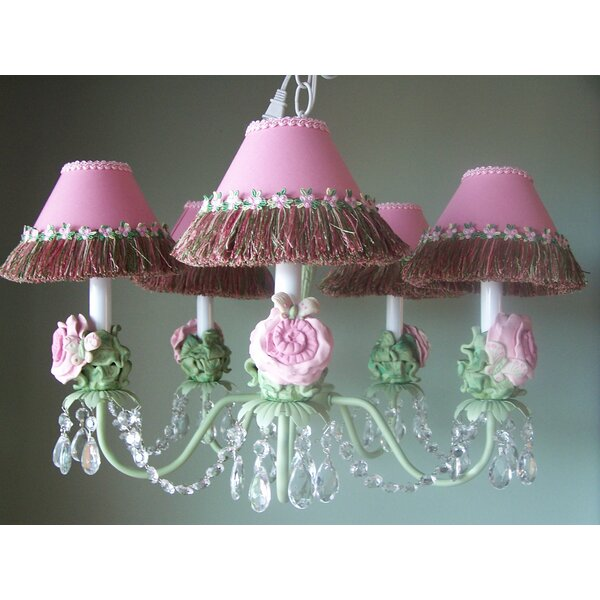 Pretty Flower Garden 5-Light Shaded Classic / Traditional Chandelier by Silly Bear Lighting Silly Bear Lighting