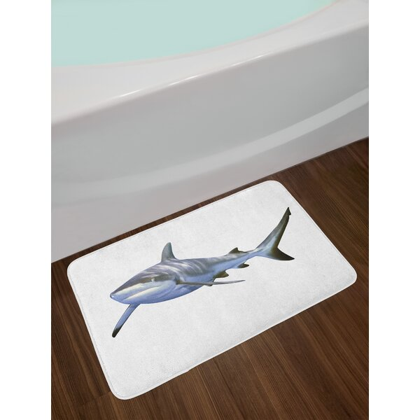 A Large Reef Shark Swimming Futuristic Computer Art Stylized Underwater Design Non-Slip Plush Bath Rug by East Urban Home