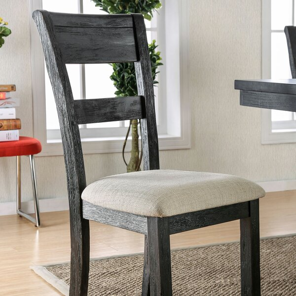 Armistead Upholstered Ladder Back Side Chair in Brushed Black (Set of 2) by Foundry Select Foundry Select