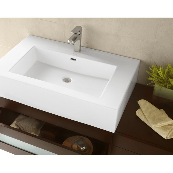 Prominent Ceramic Rectangular Vessel Bathroom Sink With Overflow By Ronbow.