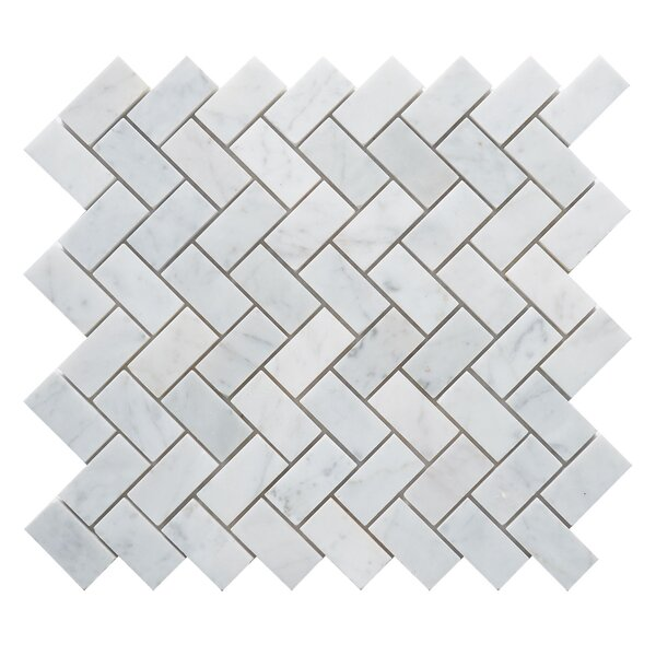 Carrara Herringbone 1 x 2 Marble Mosaic Tile in White by Matrix Stone USA