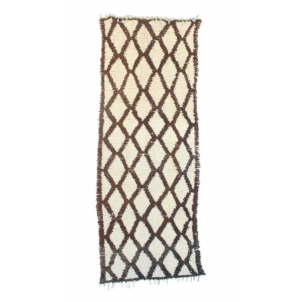 Azilal Vintage Moroccan Hand Knotted Wool Brown/Cream Area Rug by Indigo&Lavender