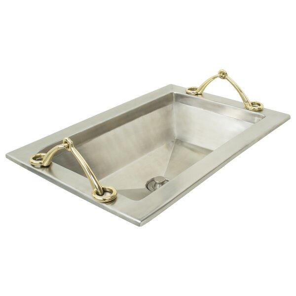 Handeled Tray Metal Rectangular Drop-In Bathroom Sink by Linkasink
