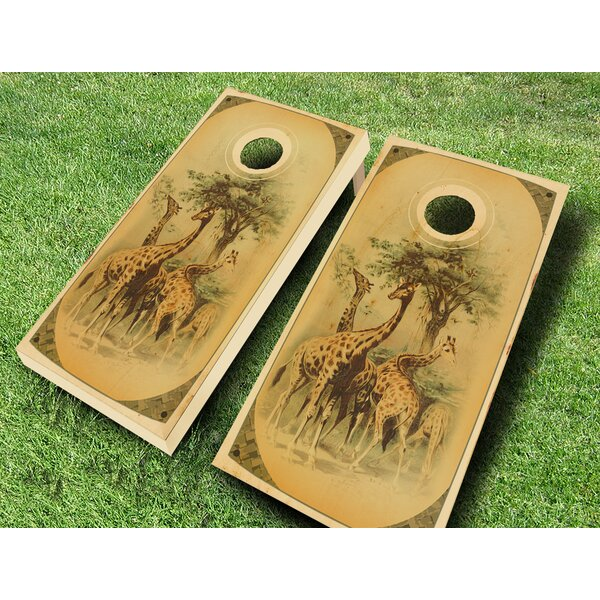 Retro Stained Giraffe Safari Cornhole Set by AJJ Cornhole