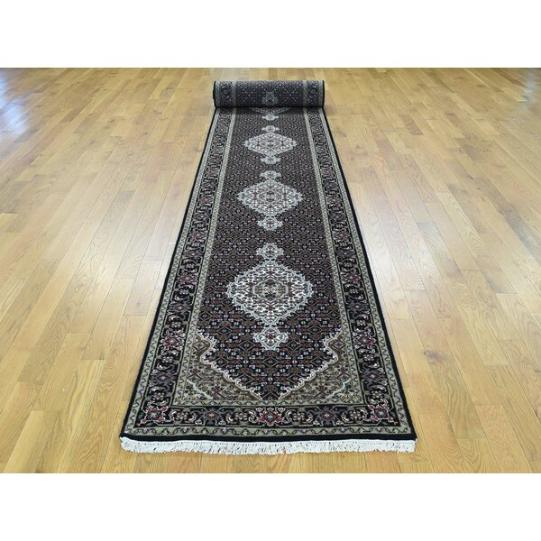 One-of-a-Kind Beaton Handwoven Black Wool/Silk Area Rug by Isabelline