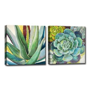 U0027Brilliant Succulents I/IIu0027 By Norman Wyatt Jr. 2 Piece Painting Print On  Wrapped Canvast Set