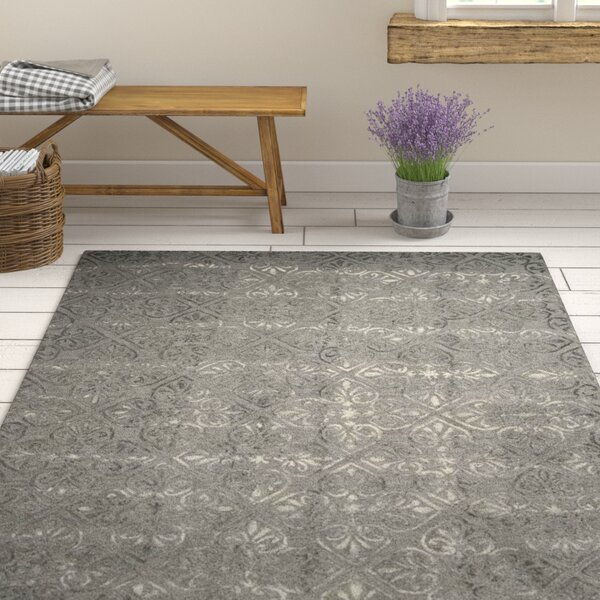 Edmeston Hand-Tufted Gray Wool Area Rug by Ophelia & Co.