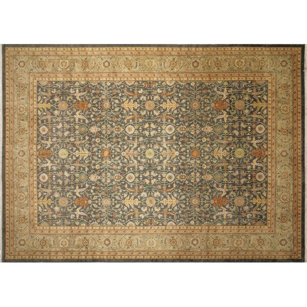 One-of-a-Kind Romona Hand-Knotted Green/Beige Indoor Area Rug by Isabelline