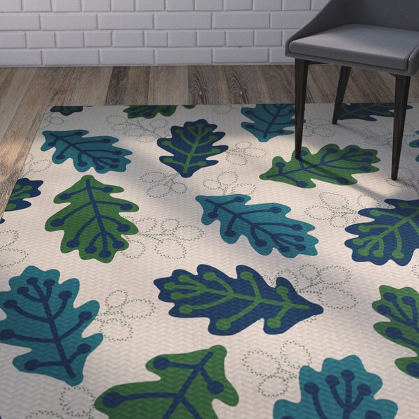 Avalos Leaf Blue Area Rug by Ivy Bronx