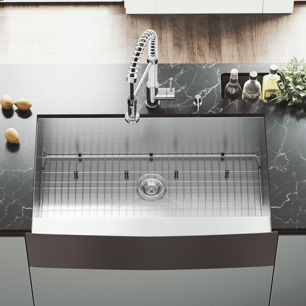 36 L x 22 W Farmhouse Kitchen Sink with Sink Grid by VIGO