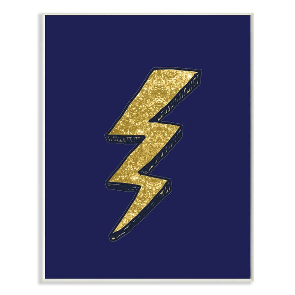 Graphic Lightning Bolt Gold and Navy Wall Plaque by Stupell Industries