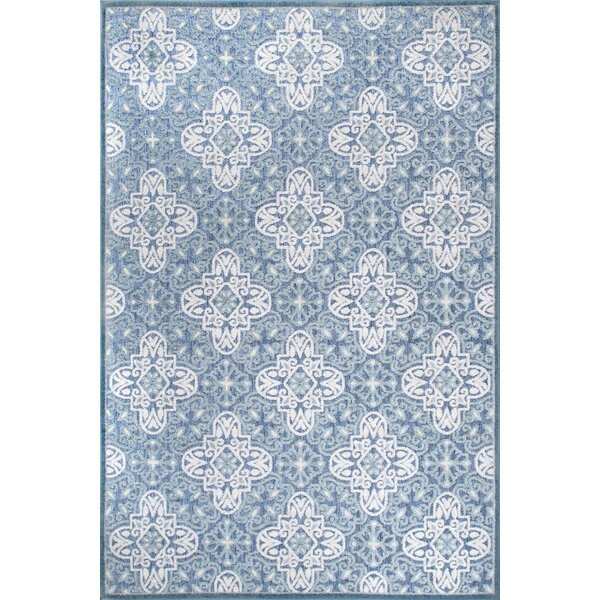 Raeburn Power Loom Blue/White Indoor/Outdoor Use Rug
