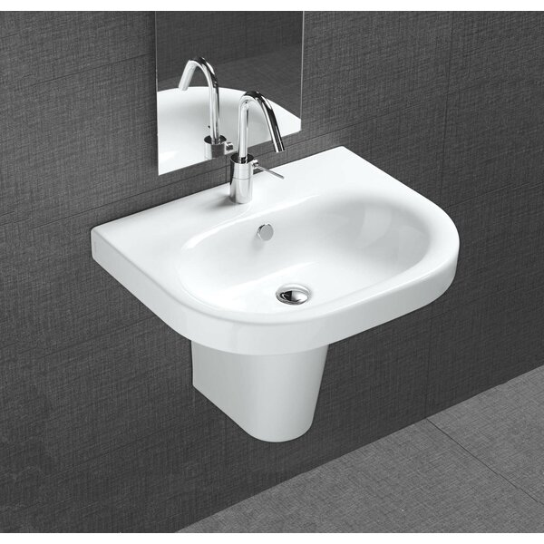 Pro Vitreous China 22 Wall Mount Bathroom Sink with Overflow by Bissonnet