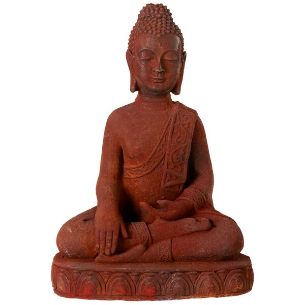 Irene Rusted Earth Touching Buddha Figurine by Bloomsbury Market