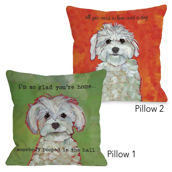 Mahurin Love a Dog and Somebody Pooped 2 Piece Throw Pillow Set by Winston Porter