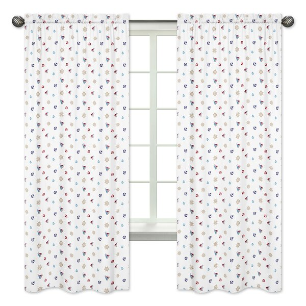 Nautical Semi-Opaque Rod Pocket Curtain Panels (Set of 2) by Sweet Jojo Designs
