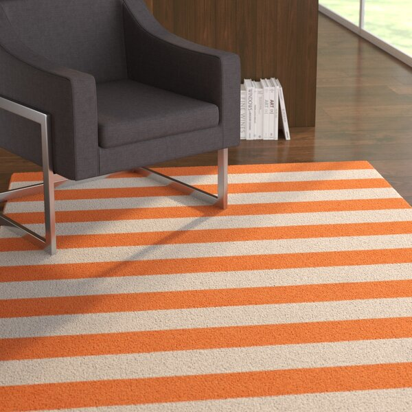 Mclennan Stripe Hand-Tufted Wool Orange Area Rug by Latitude Run