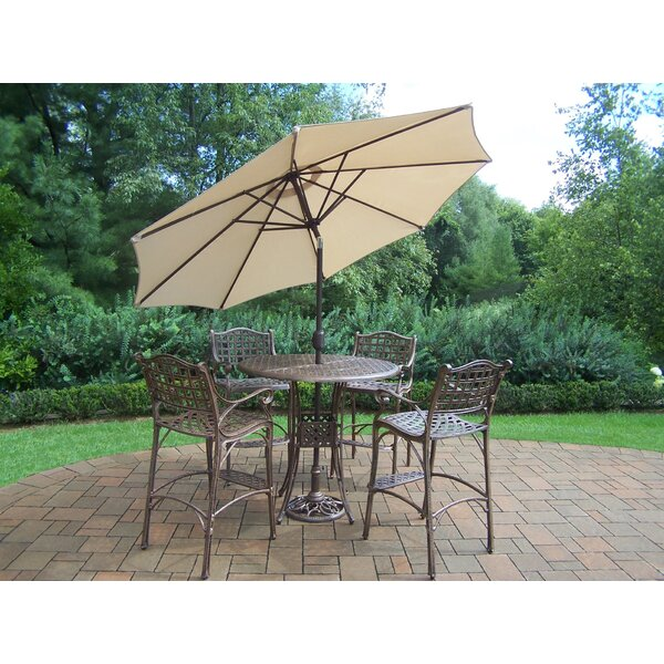 Thelma 5 Piece Bar Height Dining Set with Umbrella by Astoria Grand