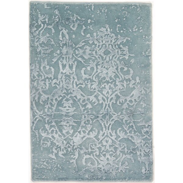 Genuine Modern Hand-Knotted Wool Blue Area Rug by Pasargad NY