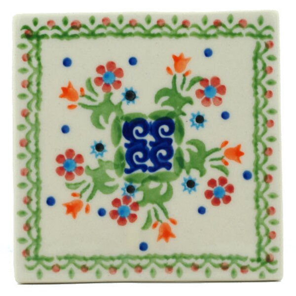 Spring Flowers 4.37 x 4.37 Ceramic Polish Pottery Decorative Accent Tile by Polmedia