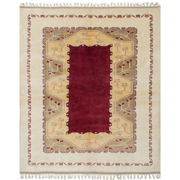 One-of-a-Kind Bettina Traditional Hand-Knotted Wool Cream/Dark Red Area Rug by Bloomsbury Market