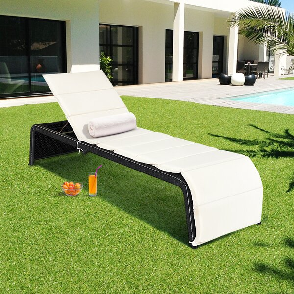 Bandy Rattan Reclining Chaise Lounge with Cushion