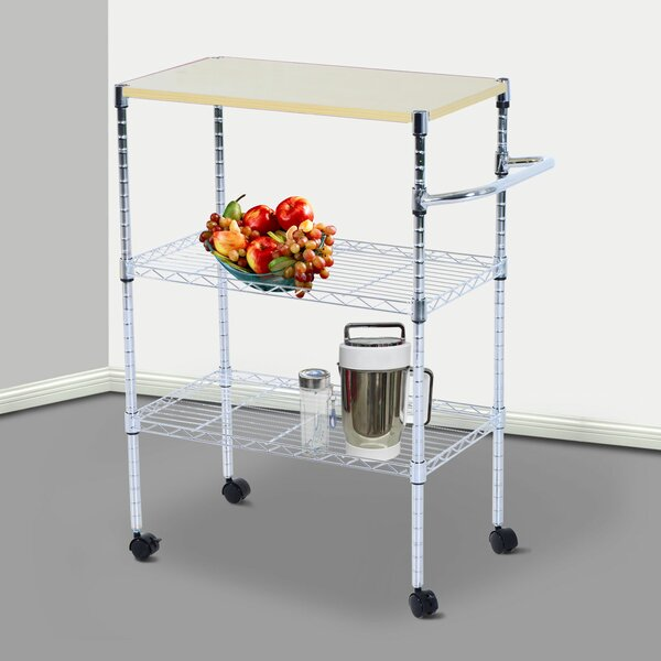 Mccubbin Portable Rolling Wire Shelf Bar Cart by Ebern Designs