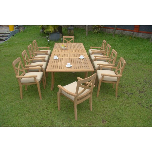 Hiliritas Luxurious 11 Piece Teak Dining Set by Rosecliff Heights