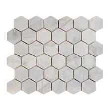 Imperial Carrara Hexagon 2 x 2 Marble Mosaic Tile in White by Seven Seas