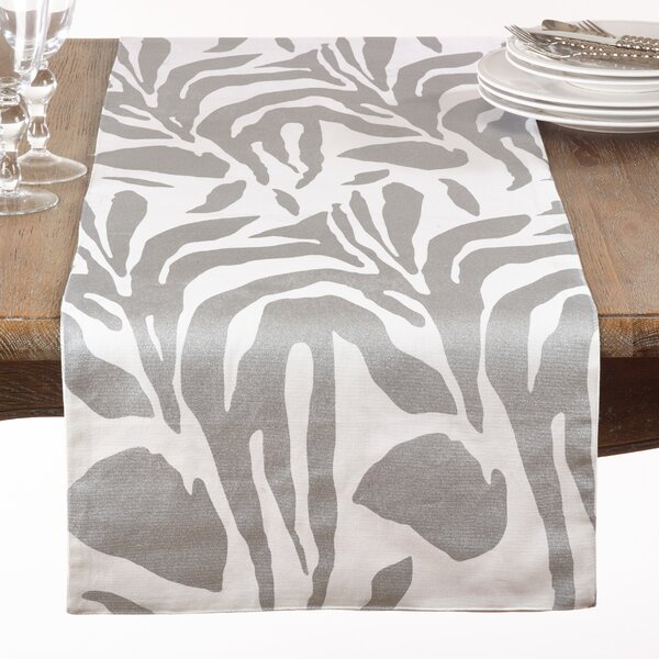 Kanagy Metallic Animal Print Cotton Table Runner by Bloomsbury Market
