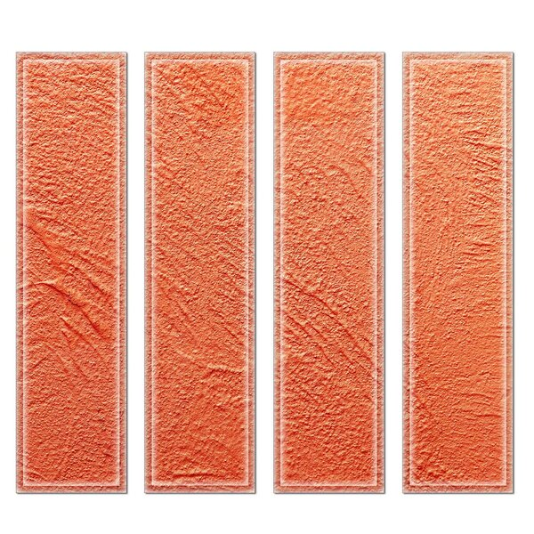 Crystal 3 x 12 Beveled Glass Subway Tile in Orange by Upscale Designs by EMA