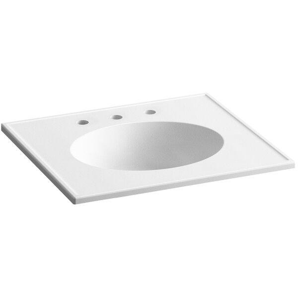 Devonshire Impressions Ceramic Rectangular Dual Mount Bathroom Sink with Overflow by Kohler