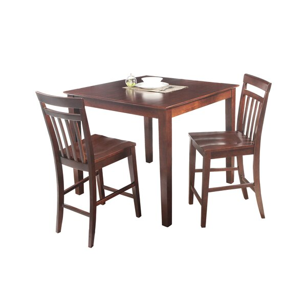 Foxfield 3 Piece Counter Height Solid Wood Dining Set by Loon Peak