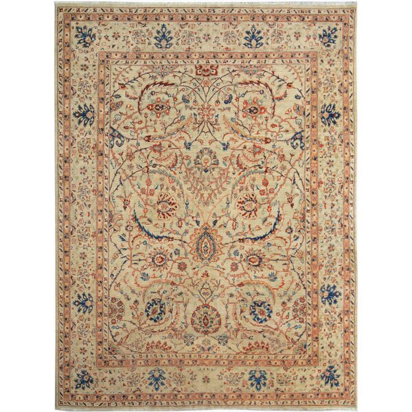 One-of-a-Kind Dorn Hand-Knotted Wool Tan/Blue Area Rug by Isabelline