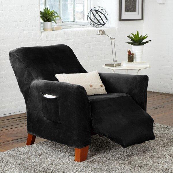 Velvet Plush Form Fit Stretch Box Cushion Recliner Slipcover By Winston Porter