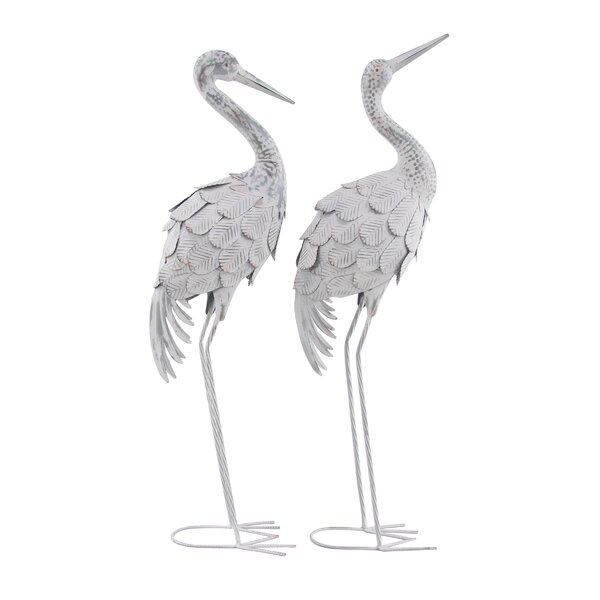 Gassett Crane Metal 2 Piece Figurine Set by Highland Dunes