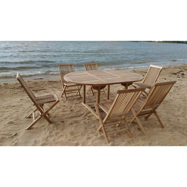 Teak 7 Piece Sunbrella Dining Set with Cushions by Trijaya Living