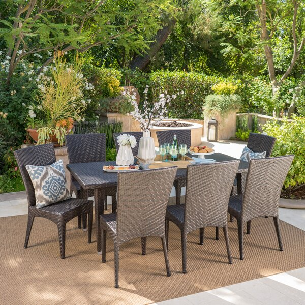 Vyron Outdoor 9 Piece Dining Set by Latitude Run