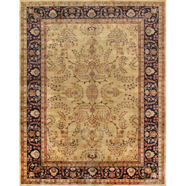 Sarouk Hand-Knotted Ivory/Navy Area Rug by Pasargad