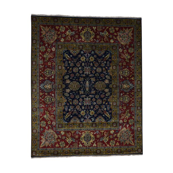 One-of-a-Kind Eddy New Zealand Oriental Hand-Knotted Wool Blue Area Rug by World Menagerie
